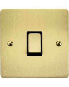 1 Gang Light Switch - Flat Plate With Rounded Corners - Satin Brass