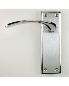 Hilton Lever Suite - Dual Finish Door Handles With A Wide Backplate - Satin Chrome & Polished Chrome