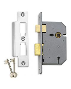 3 Lever Mortice Sash Lock - 102mm (4 Inch) Case Depth - Satin Chrome