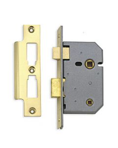 Mortice Bathroom Lock - 102mm (4 Inch) Deep - Polished Brass