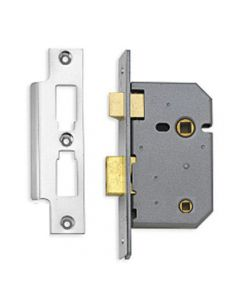 Mortice Bathroom Lock - 102mm (4 Inch) Deep - Satin Chrome