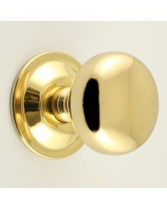 Concealed Fix - Bun Shape Architectural Quality Mortice Door Knobs - Polished Brass