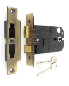 3 Lever Horizontal Mortice Sash Lock - 127mm or 152mm Deep Case - Florentine Bronze (Antique Brass Finish)