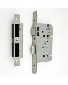 DIN Style Bathroom Mortice Lock - 60mm Backset - (78mm Centres) - Satin Stainless Steel