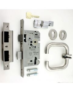 Emergency Escape DIN Sash Lock Kit - BS EN 179 Approved - Satin Stainless Steel