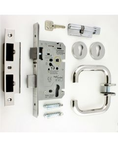 Emergency Escape DIN Sash Lock Kit - BS EN 179 Approved - Polished Stainless Steel (Shiny Finish)