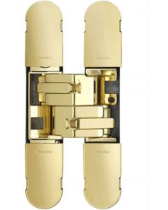 Concealed Adjustable Hinge For Invisible Doors - 100mm x 22mm - Polished Brass Plated