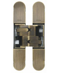 Concealed Adjustable Hinge For Invisible Doors - 134mm x 24mm - Antique Brass