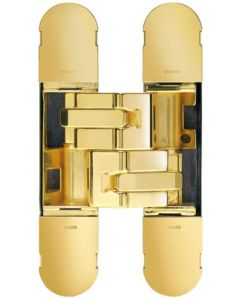 Concealed Adjustable Hinge For Invisible Doors - 134mm x 24mm - Polished Brass Plated