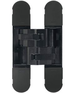 Concealed Adjustable Hinge For Invisible Doors - 134mm x 24mm - Matt Black