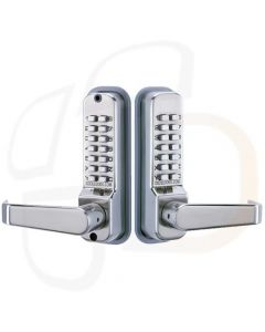 Codelocks CL410BBS Medium Duty Back To Back Mechanical Digital Combination Lock With Lever Handles - Satin Silver