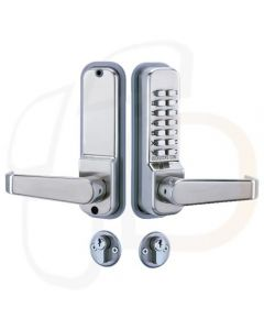 Codelocks CL420S - Mechanical Digital Combination Lock - Supplied With Euro Profile Escape Mortice Lock & Cylinder - Satin Silver