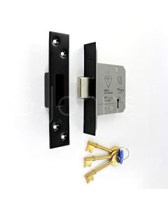 5 Lever British Standard Kite Marked Mortice Dead Lock - BS3621 Rated - CE Marked - Fire Rated - Certifire Approved - Matt Black