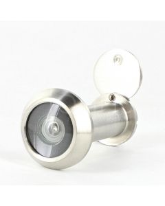 60 Minute Fire Rated Stainless Steel Door Viewer - Spy Hole For Front Doors 35mm - 55mm Thick - Satin Stainless Steel