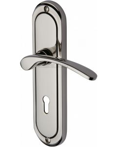 Ambassador Lever Door Handles On A Backplate - Polished Nickel - Suitable For Use With FD30 / FD60 Fire Doors