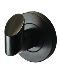 Angled Face Robe Hook - Concealed Fix Roses - 52mm Diameter - Matt Black