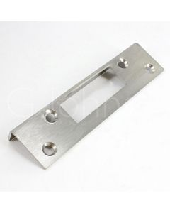 Angled Strike Plate For Outward Opening Night Latches - Satin Stainless Steel