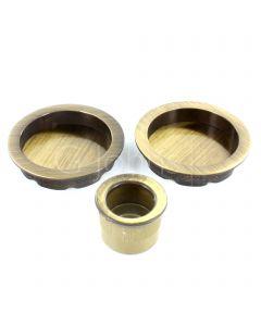 Round Design Flush Pull Handle Set For Sliding Pocket Doors - Antique Brass