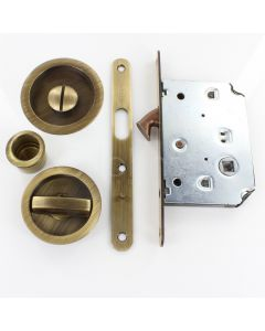 Bathroom Hook Lock For Sliding Pocket Doors - With Turn And Release - Antique Brass