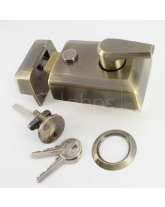 Night Latch (Front Door Yale Lock) - Antique Brass