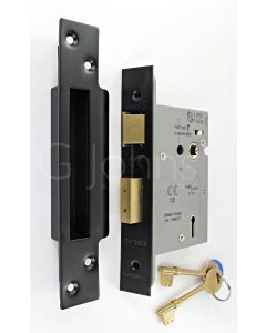 3 Lever Architectural Quality Mortice Sash Lock - CE Marked - Fire Rated - Certifire Aprroved - Matt Black