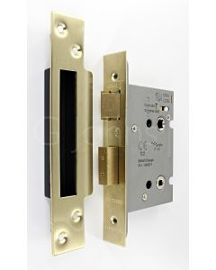 Architectural Quality Bathroom Mortice Lock - CE Marked - Fire Rated - Certifire Aprroved - Satin Brass