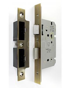 Architectural Quality DIN Style Bathroom Mortice Lock - CE Marked - Fire Rated - Certifire Aprroved - Antique Brass