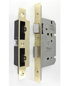 Architectural Quality DIN Style Bathroom Mortice Lock - CE Marked - Fire Rated - Certifire Aprroved - Satin Brass