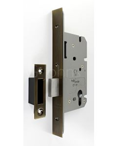 Architectural Quality DIN Style Euro Profile Mortice Deadlock - CE Marked - Fire Rated - Certifire Aprroved - Antique Brass
