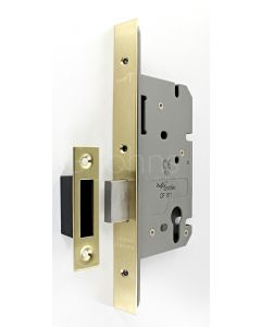 Architectural Quality DIN Style Euro Profile Mortice Deadlock - CE Marked - Fire Rated - Certifire Aprroved - Satin Brass