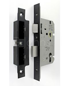Architectural Quality DIN Style Euro Profile Sash Lock - CE Marked - Fire Rated - Certifire Aprroved - Matt Black