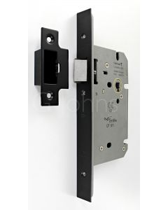 Architectural Quality DIN Style Mortice Latch - CE Marked - Fire Rated - Certifire Aprroved - Matt Black
