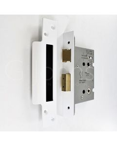 Architectural Quality Mortice Bathroom Lock - Matt White Finish