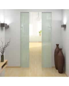 Architrave Free Adjustable Sliding Pocket Double Door Kit For Glass - To Suit Doors 626mm - 1300mm Wide And Up To 2700mm High