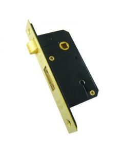 5 Lever Narrow Case Sash Lock - 50mm Case Depth (35mm Backset) - Polished Brass