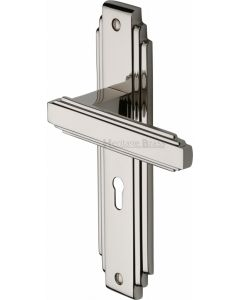 Astoria Lever Door Handles On A Backplate - Polished Nickel - Suitable For Use With FD30 / FD60 Fire Doors
