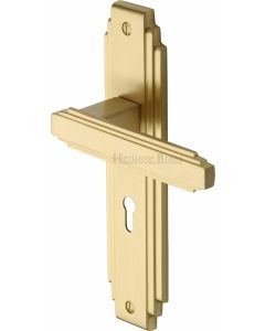 Astoria Lever Door Handles On A Backplate - Satin Brass - Suitable For Use With FD30 / FD60 Fire Doors