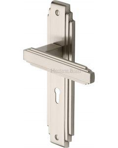 Astoria Lever Door Handles On A Backplate - Satin Nickel - Suitable For Use With FD30 / FD60 Fire Doors