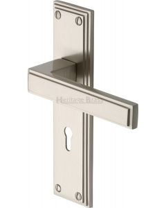 Atlantis Lever Door Handles On A Backplate - Satin Nickel - Suitable For Use With FD30 / FD60 Fire Doors