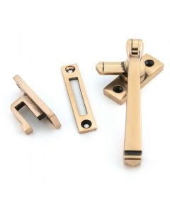 Avon Pattern Locking Handle - Window Fastener - Reversible - Polished Solid Bronze