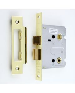 Economy Mortice Bathroom Lock - To Suit 5mm Spindle - Brass Plated - (Shiny Finish)
