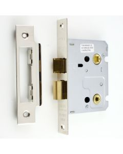 Economy Mortice Bathroom Lock - To Suit 5mm Spindle - Nickel Plated - (Shiny Finish)