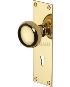 Balmoral Mortice Knobs on Back Plate - Polished Brass