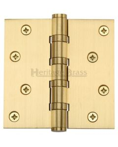 Ball Bearing Broad Butt Projection Hinges - 102mm x 102mm - Satin Brass