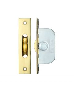 Ball Bearing Pulleys - Square Forend - For Sliding Sash Windows With Solid Brass Wheel - Polished Brass