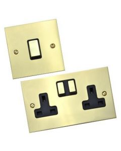 Bauhaus Light Switch & Socket Range - Flat Plate With Squared Edges - Polished Brass
