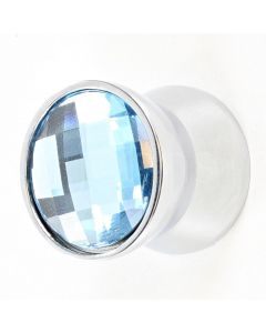 Blue Swarovski Crystal Tapered Cupboard  Drawer Knob - 23mm x 20mm - Polished Chrome