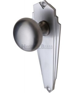 Broadway Mortice Knobs on Back Plate - Satin Chrome