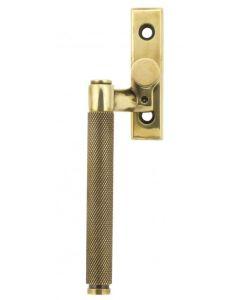 Brompton Cranked Knurled Pattern Locking Espagnolette Handle - Window Fastener - Left & Right Hand - Aged Brass Unlacquered
