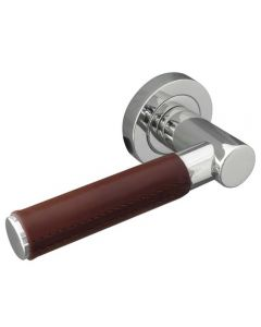Round Rose Door Handles - Polished Chrome With Brown Leather Wrap